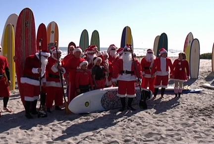 Surfing Santa Christmas Eve